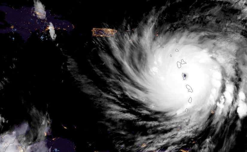 Maria Makes Landfall Over Dominica NOAA's GOES-16 satellite captured this geocolor image of Hurricane Maria on the evening of September 18, 20176, as it made landfall over Dominica. Credit: CIRA (NOAA Satellites)