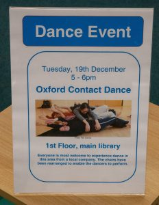 Library Dance, 19 December 2017 at Oxfordshire Central Library, Westgate Centre, Oxford with dancers: Lizzy Spight, Naomi Morris Lizie Giraudeau and Andrew Wood. Photo: Karl Wallendszus