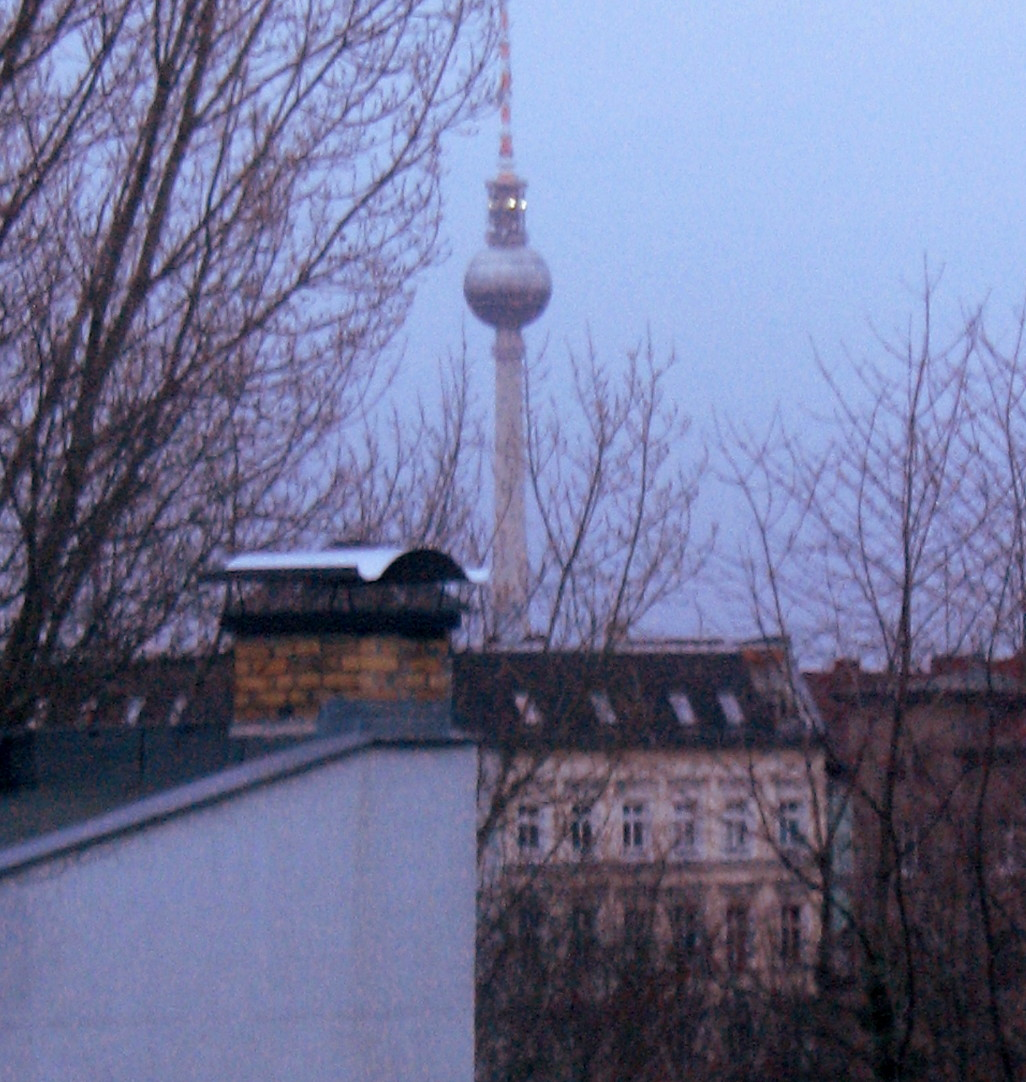 The TV Tower in Berlin, visible from the from Somatische Akademie Berlin which is located on the 5th floor.the