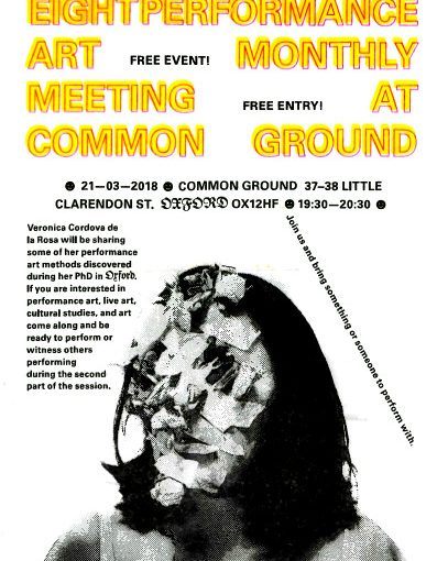Flyer for talk and performance at Common Ground in Oxford on 21 March 2018