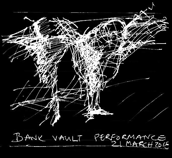 Sketch: impression of the bank vault performance on Tuesday 21 March 2018 at Common Ground