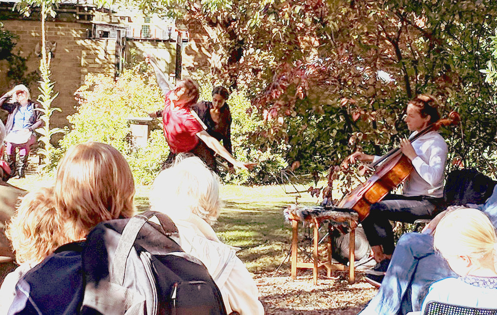 Garden Dance: Dancer Andrew Wood (left), Sonia Dacamara (behind, right) were accompanied by cellist Josie Webber. Performed at The Turrill Sculpture Garden, Oxford on 29 September 2018.