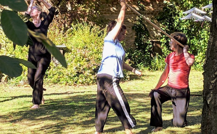 Garden Dance with four dancers: Tamsyn Stanton, Stacey Seigel, Sonia Dacamara, and Andrew Wood were accompanied by cellist Josie Webber. Performed at The Turrill Sculpture Garden, Oxford on 29 September 2018.