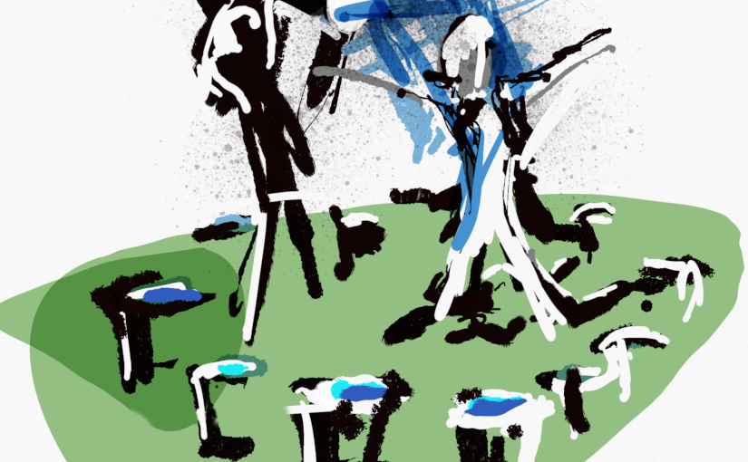 Drawing of a dance called Fountain by Andrew Wood