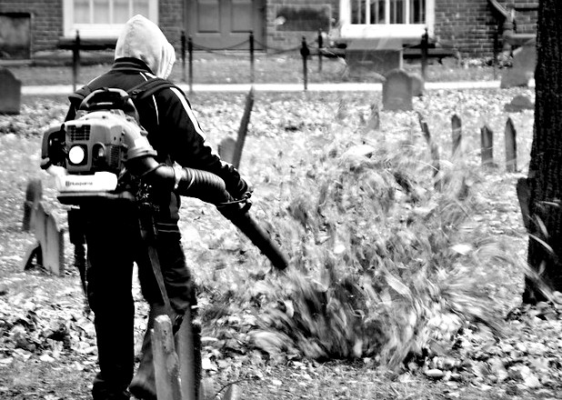 Leaf blower in action. Photo: David Pilbrow/ Flickr. Creative Commons Lisence 2.0